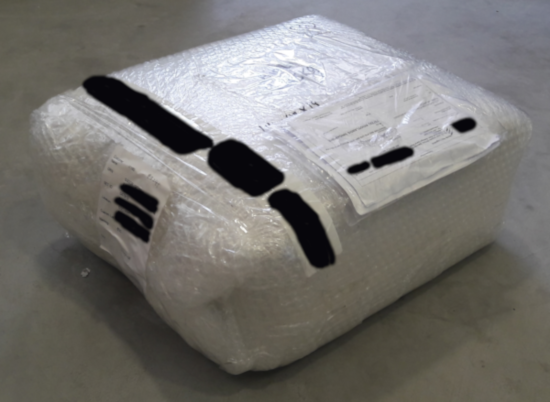 Bubblewrapped parcel