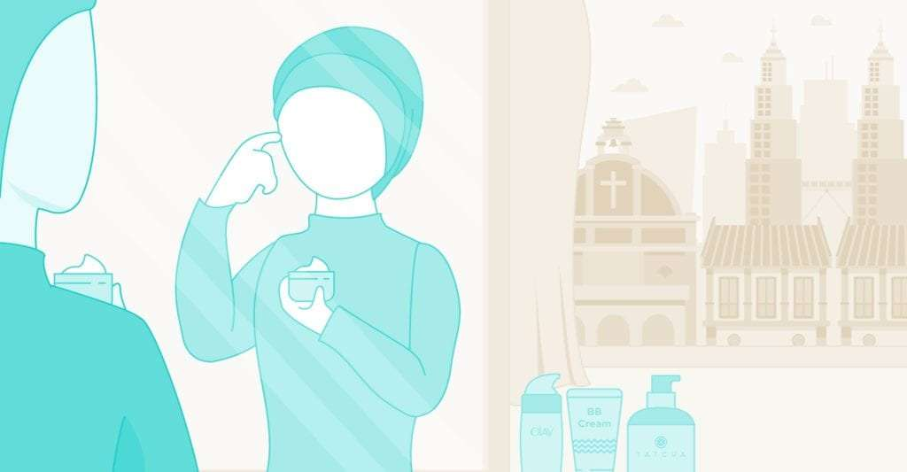 Malaysia skincare eCommerce trends - Malay lady applies skincare cream on her face