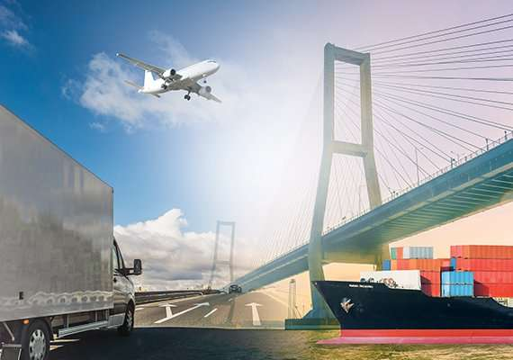 Truck, air freight, and sea freight picture