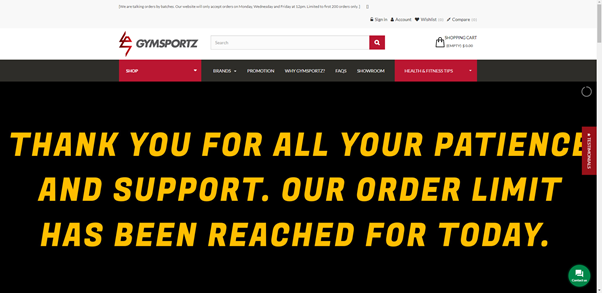 Gymsportz website banner order limit April 2020