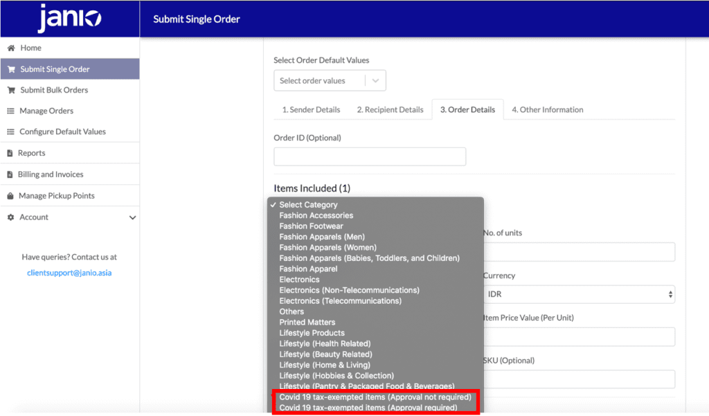 Janio Merchant Portal Indonesia's Exemptions product categoires added to dropdown list. Dropdown list expanded