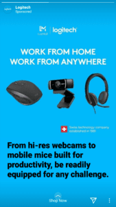 Logitech advertisment for work from home products like computer mice, web cams and headphones