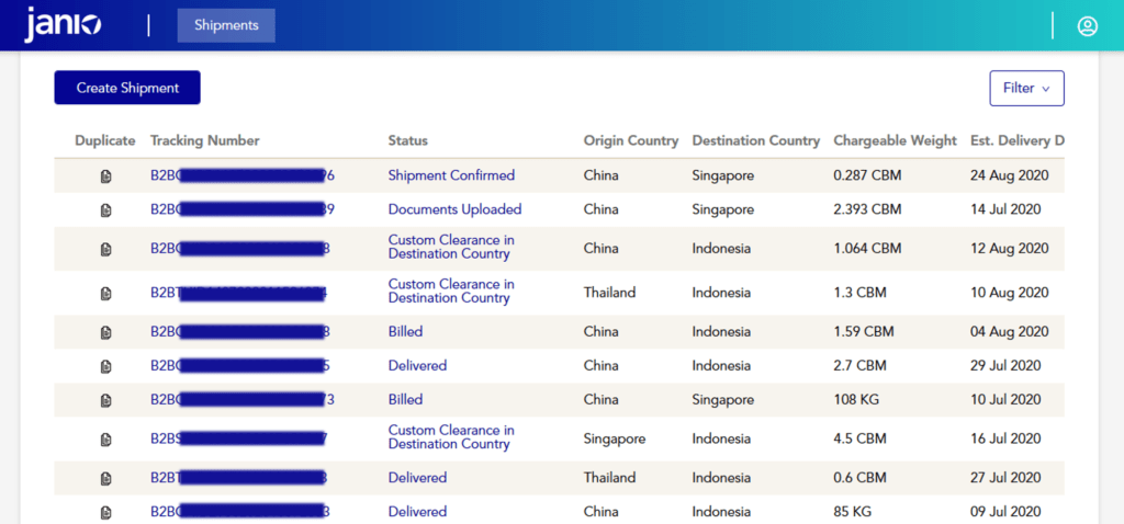 Janio's B2B portal - list of shipments and their shipping status updates