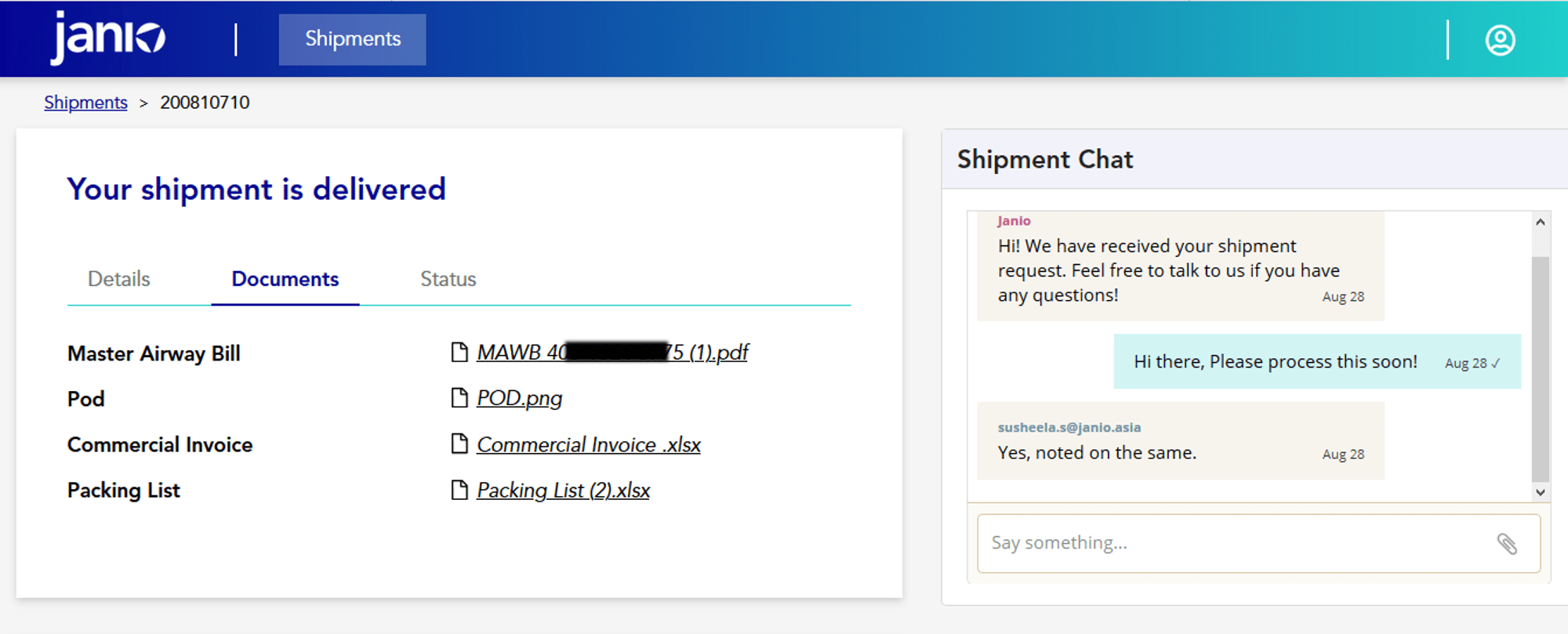 Janio's B2B Merchant Portal - access all shipment documents in one place