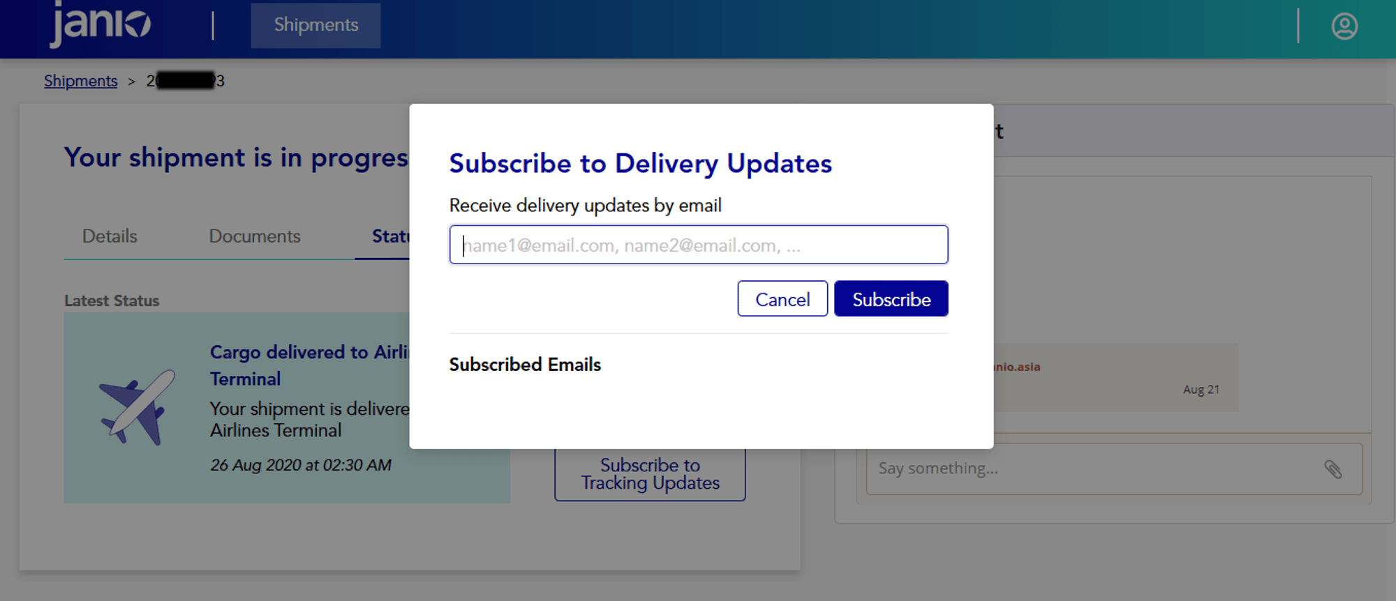 Janio's B2B Merchant Portal - subscribe for emails on status updates