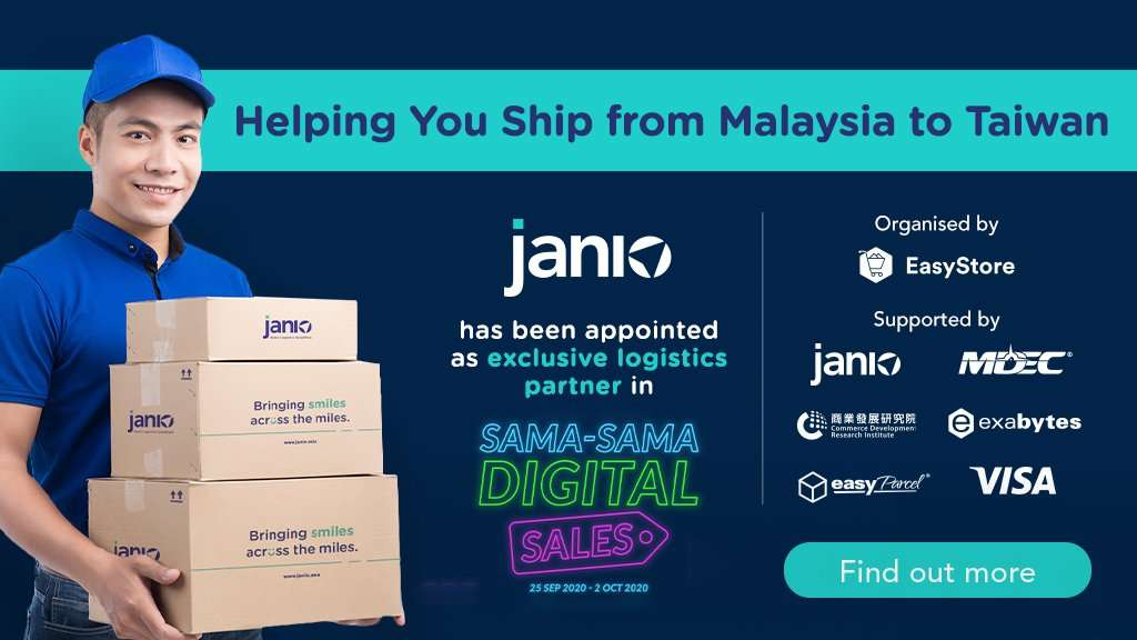 Janio is Sama-Sama Digtal 2020's exclusive shipping partner from Malaysia to Taiwan - helping Malaysian SMEs expand their eCommerce reach to Taiwan