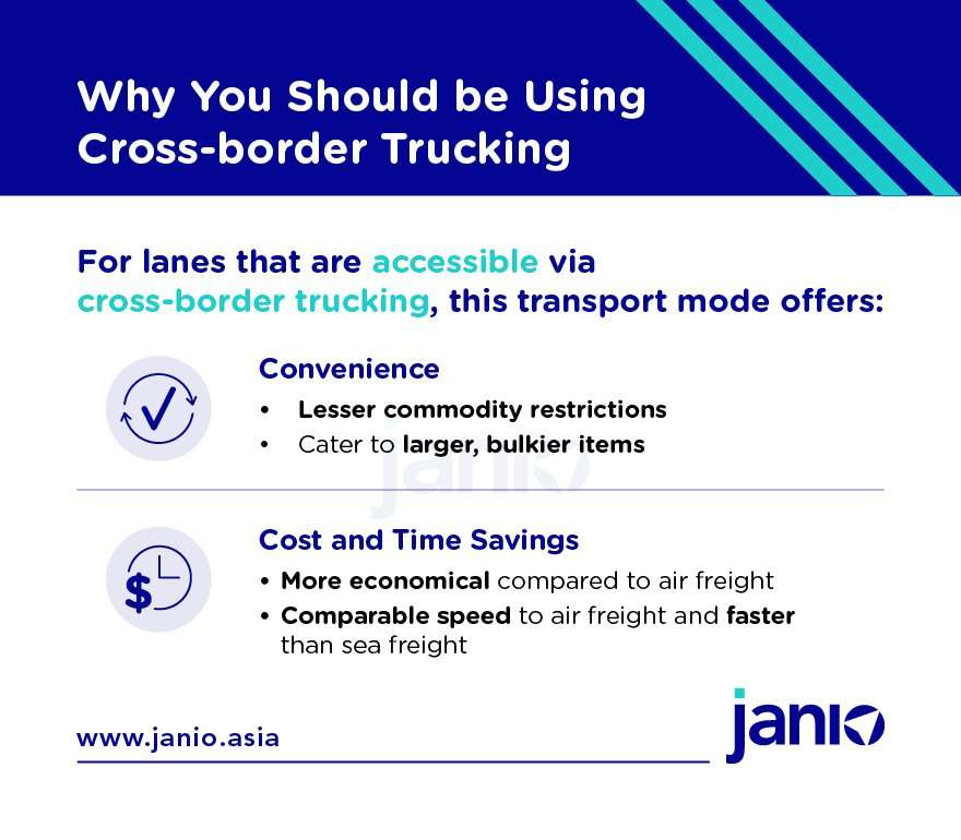 Infographic summarising cross-border trucking's benefits: Convenience and savings for costs and time