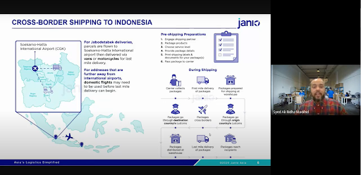 Ali presenting Janio's Cross-border shipping solution at the Export to Indonesia via Cross Border eCommerce webinar