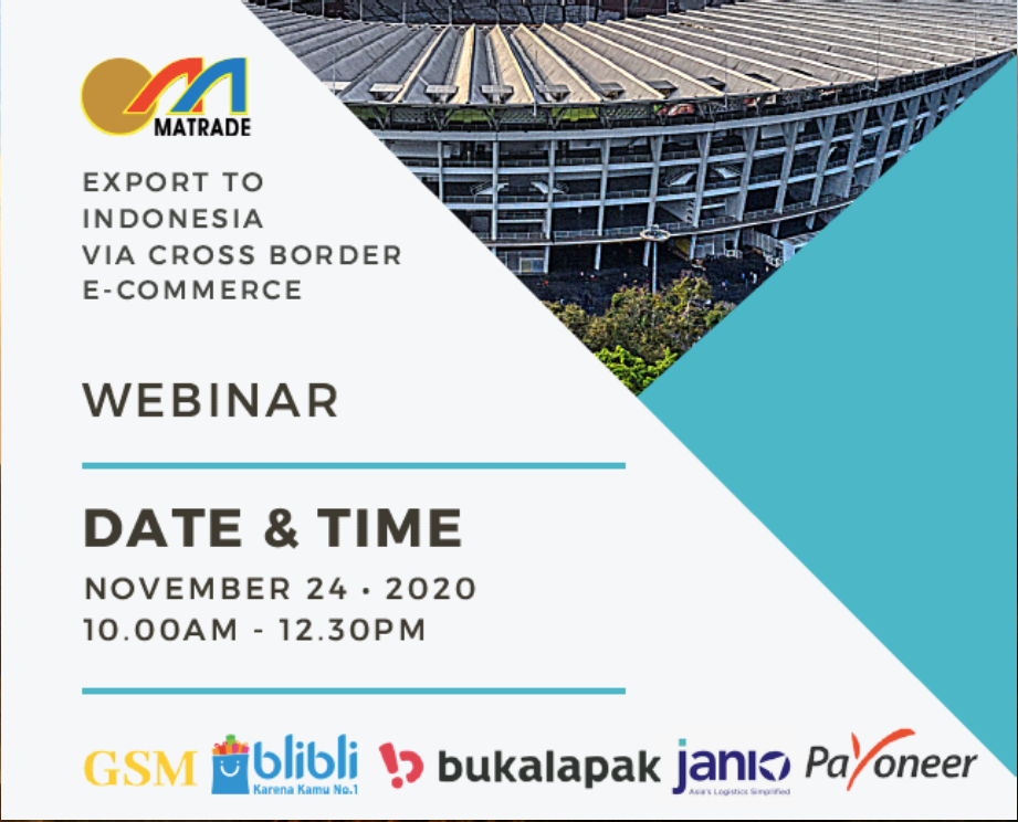 MATRADE and Global Shoppers Malaysia (GSM) Export to Indoensia via cross-border eCommerce banner for 24th November 2020 webinar