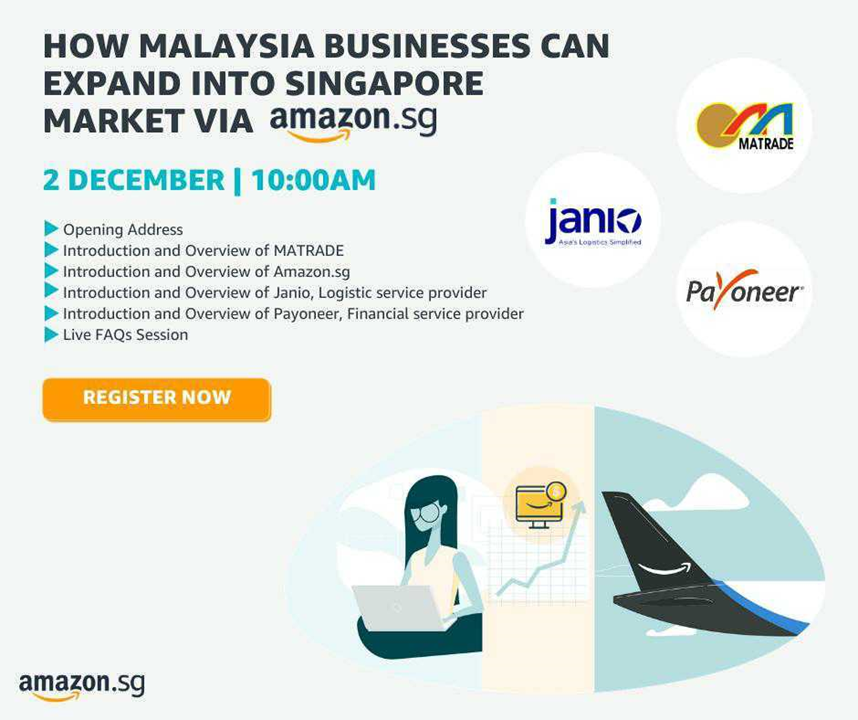 How Malaysia businesses can expand into Singapore market via Amazon.sg banner with agenda and date