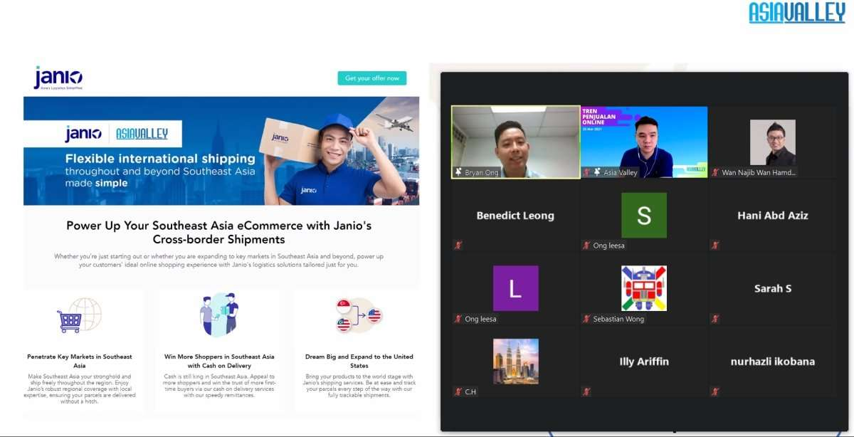 Screenshot of Asia Valley's webinar featuring Bryan Ong from Janio and webinar participants