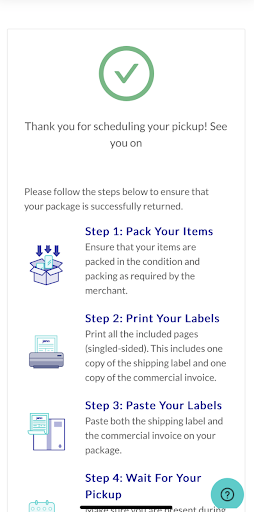 Pick up and drop off confirmation email for shoppers using Janio's return shipment services