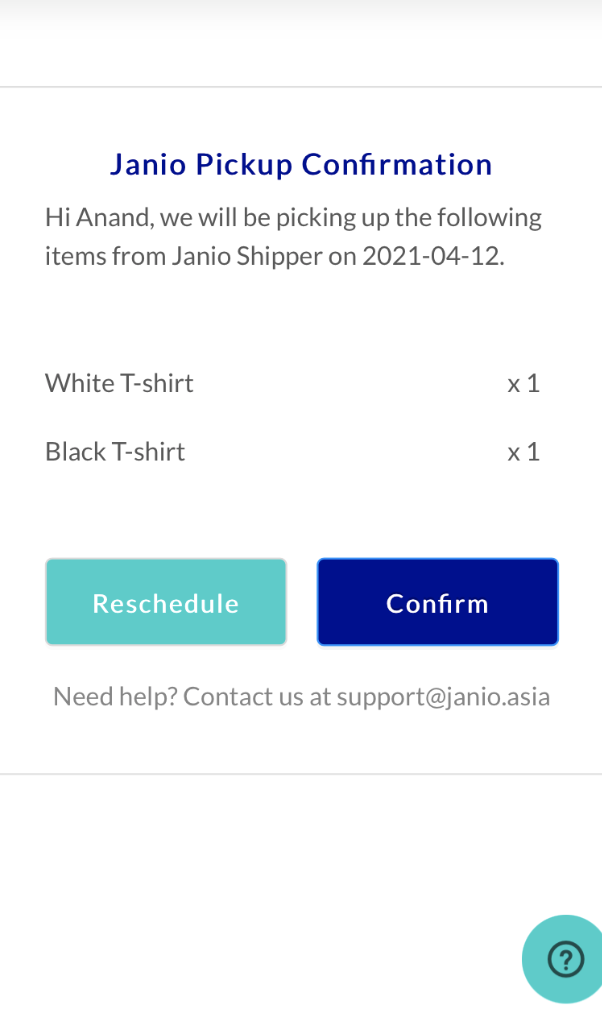 Janio Returns - Pick up Screen for shoppers to reschedule pick up dates