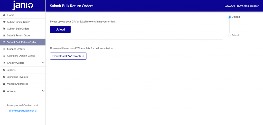 Go to the Submit Bulk Return Order Page