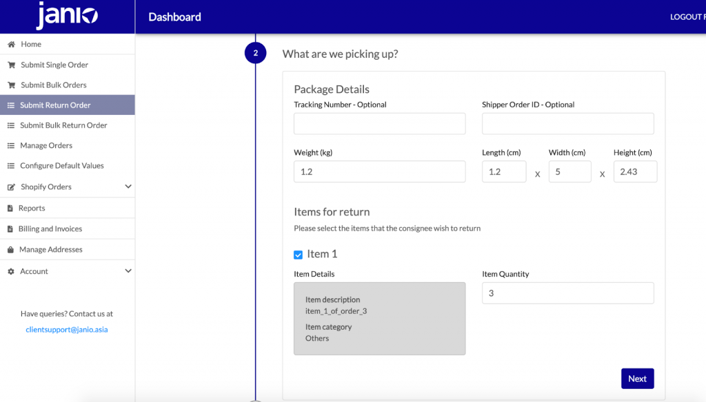 Input or Check the Details of the Return Order