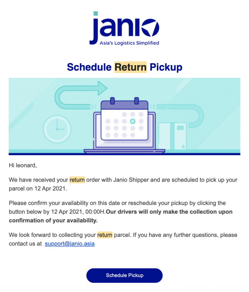Screenshot of Janio's Return Pickup email that will be sent to your shoppers
