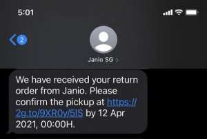 Screenshot of the SMS that will be sent to your shoppers who are aiming to use Janio's return services