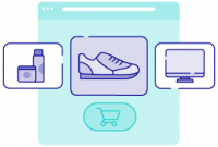 Vector image of popular product categories being bought online on a computer screen